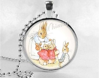 RABBIT Pendant Necklace, Rabbit Family Jewelry, Rabbit Illustration Glass Photo Art, Mother's Day Gift