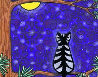 Paisley Magical Full Moon Tabby Cat - print - Shelagh Duffett