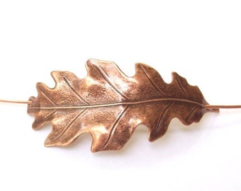 Oak Leaf Shawl Pin, Leaf Scarf Pin, Copper Hair Slide, oxidized, copper shawl pin, fall fashion, organic, barrette, brown, woodland
