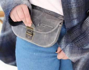 Gray Leather Pouch / Handmade Belt Bag / Belt Bag / Leather Hip Bag / Smartphone Waist Pocket / Gift for Him / Phone leather bag