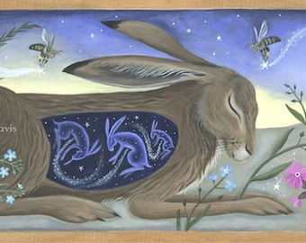 The story within. Sleeping hare. Art print.