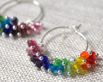 Rainbow Hoop Earrings, Silver, Czech Glass Beads, Beaded Cluster, Small Silver Plated Hoops, Bright and Fun, Colorful Jewelry