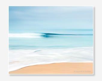 digital download printable wave surf seascape ocean abstract beach photography photo print teal bathroom decor art sea California minimalist