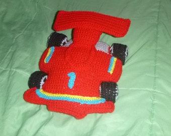 Crochet Race car Pillow, Crochet race car, Crochet car