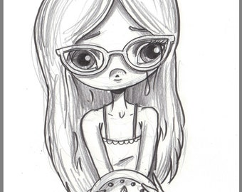 Day #224 - Out of Time - Sad Glasses girl - original sketch a day drawing! 5.5 x 8.5