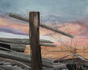 Discounted - ORIGINAL PAINTING Tangled Sunset -  fence Western Gothic  Watercolor