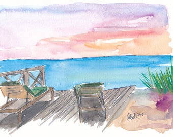 Midsummer Hygge Deck Chairs - Limited Edition Fine Art Print - Original Painting available