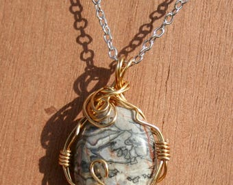 Crazy Black Lace Agate Wire Wrap Crystal Necklace