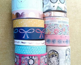 Girly washi tape samples 18 ''-24''/ gold foil washi tape/envelopes/sunglasses/girls/eyeglasses/hobby lobby/cameras/eyelashes