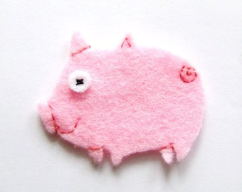 Felt applique, Felt pig