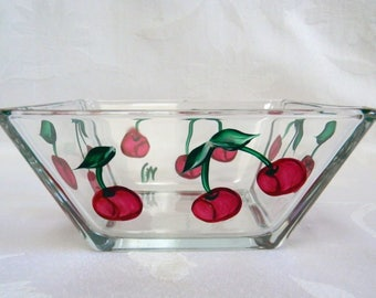 Small bowl with Cherries, Red cherries bowl, painted cherries, hand painted bowl, glass bowl, serving bowl, dip bowl, ic cream bowl
