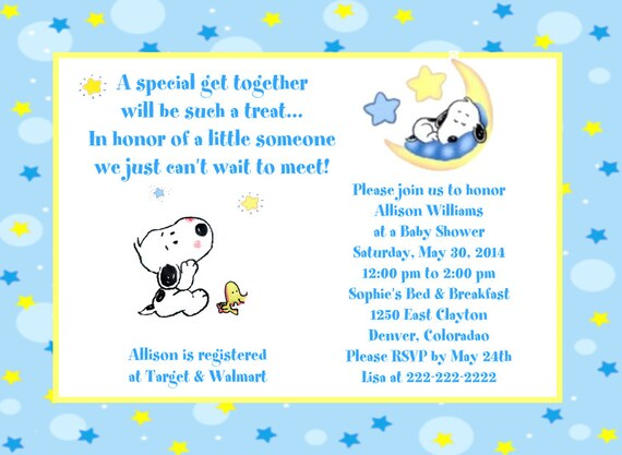 Baby Snoopy Moon And Stars Baby Shower Invitations