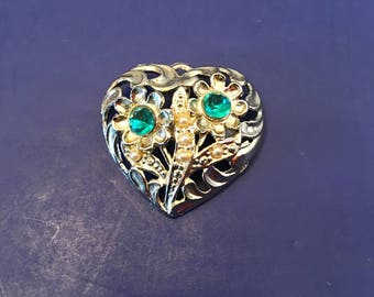 Heart Brooch Pin ~ Silver and Green ~  Faux Pearls ~ Shabby Chic ~Vintage