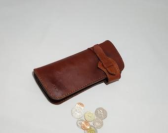 Leather Long Wallet/Biker Wallet/Trucker/Full Grain Vegetable Tanned Leather/Men's/Women's Travel Wallet with coin pocket/Handstitched
