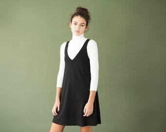 Black dress, mini dress, v neck dress, little black dress,black sleeveless dress, black tunic, casual black dress