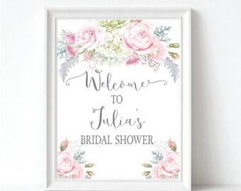 Floral Bridal Shower Welcome Sign - Pink & Gray Wedding Shower Welcome Sign - Bridal Shower Decor - Printable Sign