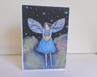 Starfairy, 5x7 inch fine art  print mounted  on 1.5 inch deep block panel, ready to stand or hang