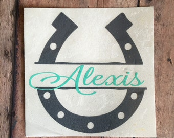 Monogram Sticker, Horseshoe Monogram, Cup Decal, Custom Decal, Vinyl Monogram, Name Decal, Vinyl Stickers, Tumbler, Personalized Horse Shoe