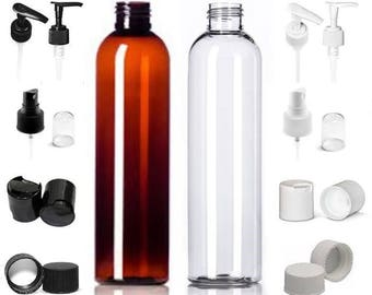 6 Pack 8 oz. Empty Refillable Amber or Clear Bullet Cosmo Round Plastic Bottles with Tops of your choice BPA Free Shampoo Lotion Soap Bottle