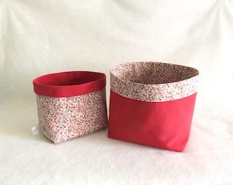 Set of 2 baskets of arrangement red Ugo and reversible flower pattern