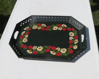 Deep Dark Green Metal Tray With Hand Painted Flowers