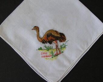 Vintage Hanky Embroidered Emu Bird Souvenir Australian