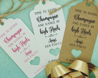 "Hen Do Party Favour Gift Tags ""Thank you"" Label Kraft, Personalised"