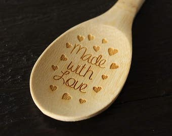 Made With Love Engraved Wooden Spoon Bamboo Spoon Cooking Utensils