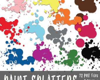 Paint Splatters Clip Art - Commercial Use Clipart - 72 Images in PNG format - Includes 6 different designs and 12 different colors