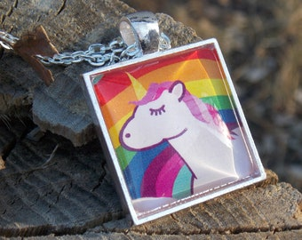 It's all rainbows and unicorns - hand illustrated pendant necklace