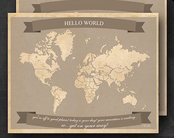 "World Travel Maps - Printable World Travel Map Instant Download - 16""x20"" Wall Art - 2 pack - With Text or Add your own text"
