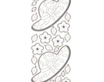 Sticker sewing Hat/flowers silver edge - STI9103018