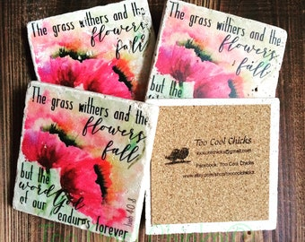 Christian Inspiration Tumbled Marble Coasters