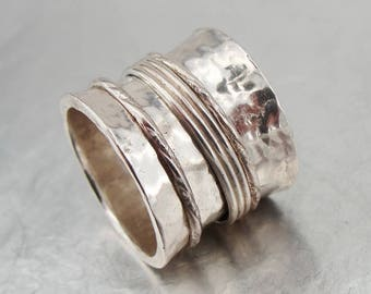 SALE! Spinner Ring, 925 Sterling Silver Swivel Wide hammered Band Ring.and hers wedding rings Meditation Ring, Free shipping, Gift (1302