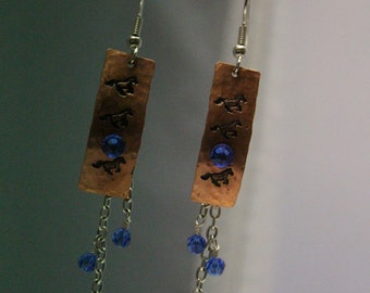 Horse Lover Earrings, Upcycled Copper, Equestrian Jewelry, Cowgirl Rodeo, Western Earrings Running Horse, Handmade Handcut Hammered OOAK