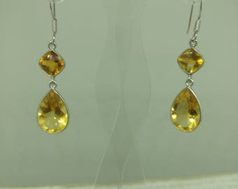 Beautiful yellow topaz and sterling silver earrings.
