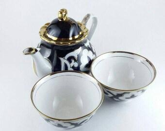 Cotton tea set, high quality handmade pottery, art decorative tea pot, teacup, Uzbek folk ceramic, home decor