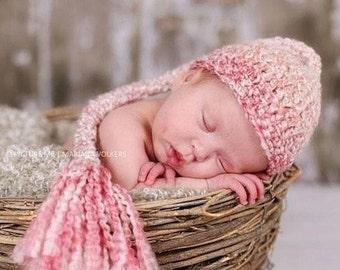 Newborn Girl Hat, Baby Girl Elf Hat, Crochet Baby Girl Hat, Newborn Photo Prop, Newborn Stocking Hat, Newborn Coming Home Hat