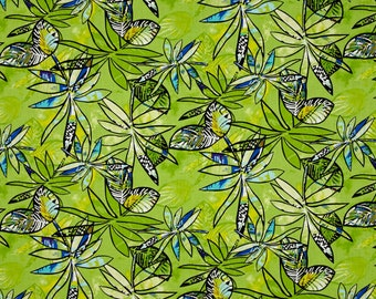 benartex fabric contempo anything goes tropical flowers lime green modern contemporary - sold by the yard