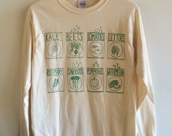 Garden T-Shirt, Kale Shirt, Foodie Gift, Gardening Gift, Long Sleeve, Vegetable Shirt