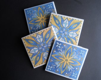 Spanish Tile Coasters ~ Blue and Yellow Coasters ~ Mexican Tile Coasters ~ Housewarming Gift ~ Ceramic Tile Coasters ~ Flower Coasters