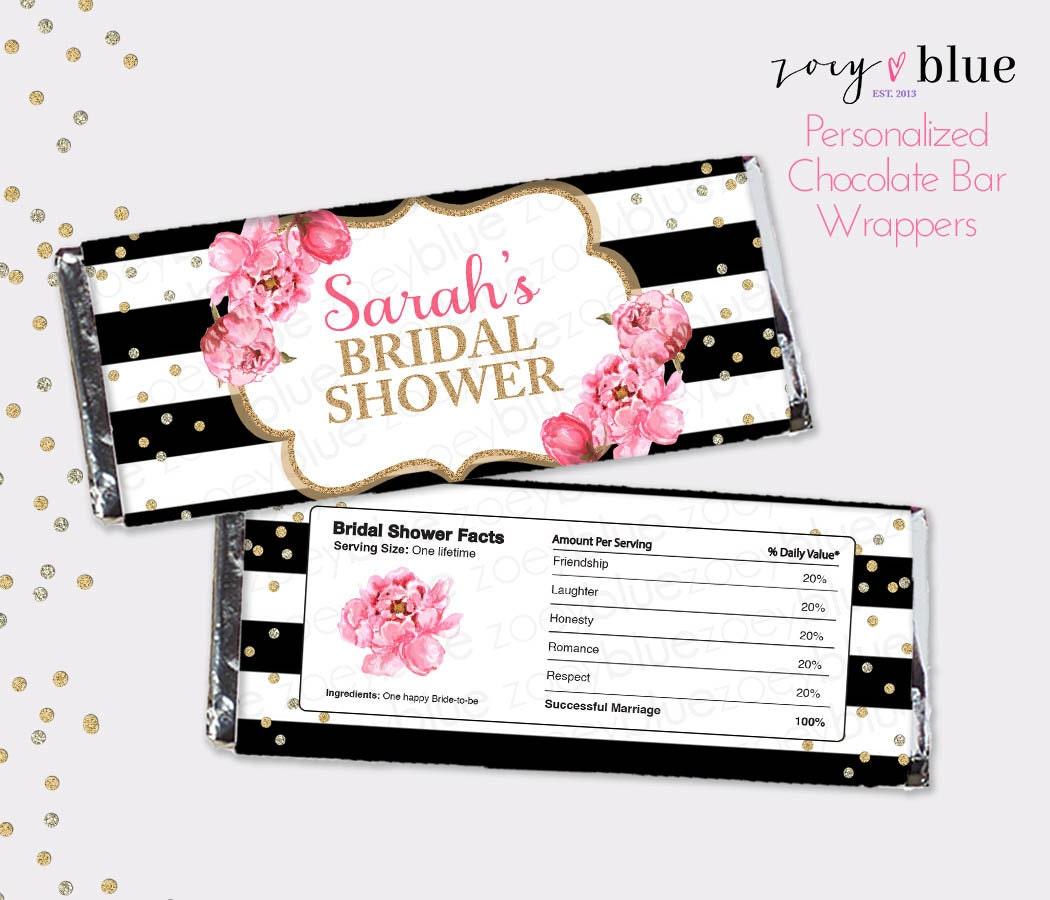 Peony Bridal Shower Chocolate Bar Wrapper Black White Gold