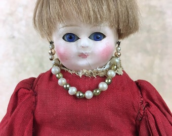 Antique wax-over doll, small doll, wax over papier mache doll