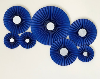 Set of Handmade Blue Paperfans, Paper Rosettes backdrop, party decor, Birthday Decor, Wedding Decor, Dessert Table