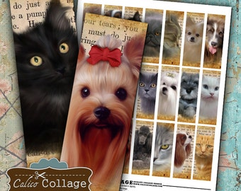 Pets on Ephemera 1x3 Inch Size Images Digital Collage Sheet Printable Download for Microslides, Glass and Resin Pendants, Magnets, Scrapbook