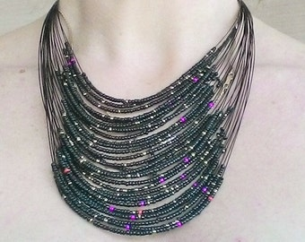 Beaded necklace Bib necklace Colorfull multi strand necklace Ukrainian jewelry Ukrainian style Gift from Ukraine