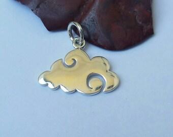 Sterling Silver Fluffly Cloud Charm, Silver Cloud Charm, Cloud Earrings, Cloud Necklace,Cloud Charm Bracelet,Cloud Jewelry, Flat Cloud Charm