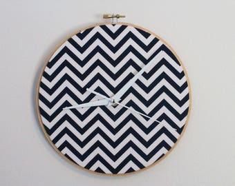 Decorative Chevron Clock, Wall Hanging Clock, Chevron Wall Clock, Fabric Wall Hanging Clock, Wall Clock Decoration