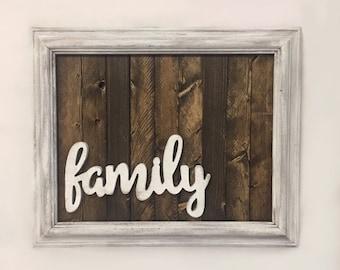 Family Wood Sign, Rustic Wood Sign, Farmhouse Decor, Family Home Decor,  Framed