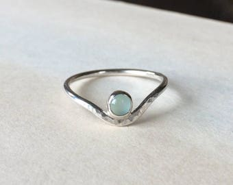 Sea Green Chalcedony Curve Ring, Sterling Silver, select sizes